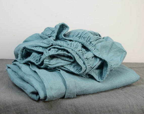 100% linen fitted sheet. DUCK EGG bedding collection. Greenish-bluish color. Single, twin, queen, king and other custom sizes. Stone washed.