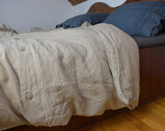 100% linen hemstitched duvet cover. NATURAL bedding collection. Not dyed linen flax. Single, twin, queen, king or custom size. Stone washed.