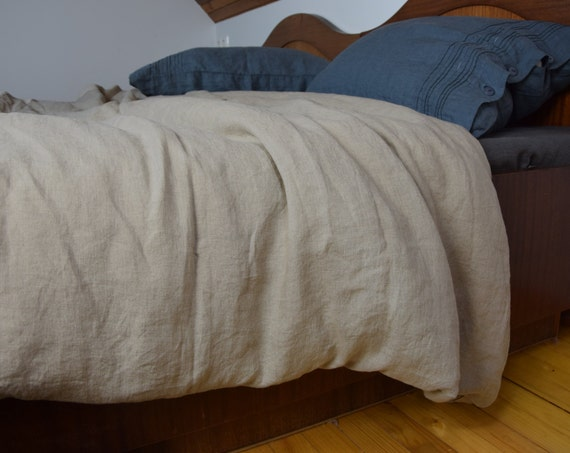 100% linen duvet cover. NATURAL bedding collection. Not dyed linen flax color. Single, double, queen, king or custom sizes. Stone washed.
