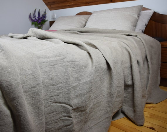 Bedspread-summer blanket, pure 100% linen. King, queen, twin, full, all custom sizes. Not dyed flax, rustic, homespun. Made to order.