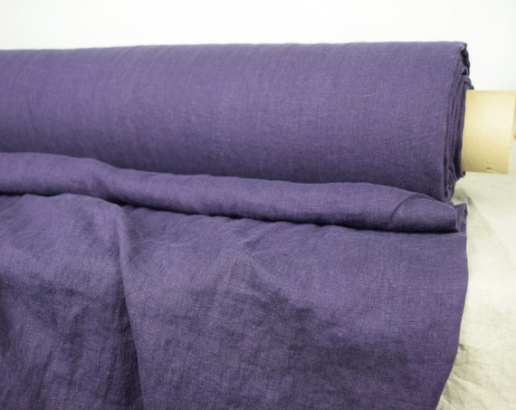 "SWATCH (sample) 12x12cm (5x5"").  Pure 100% linen fabric Camilla Nightshade 160gsm. Rich saturated bold puple. Washed, softened."
