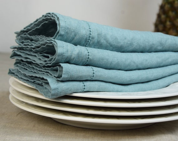 Cloth napkins, set of 4 units. Duck egg greenish color, light weight, stone washed pure 100% linen. Hemstitched. Made to order.