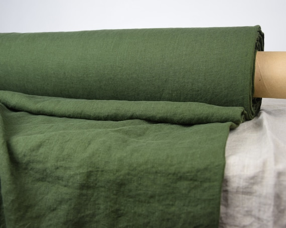 Pure 100% linen fabric Gloria Military Green 190gsm. Rich saturated olive-army green. Washed-softened.