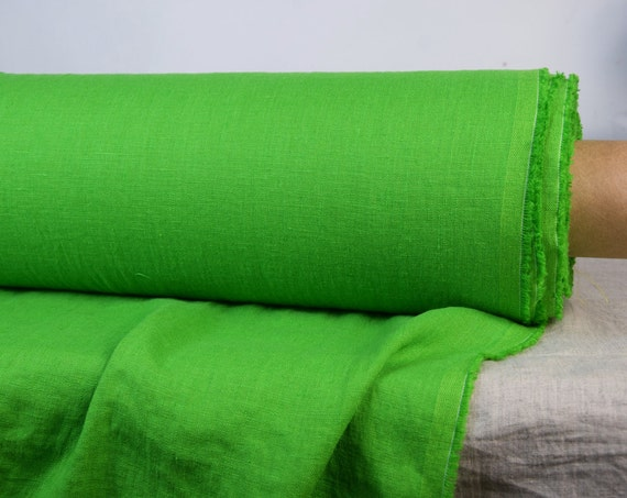 Pure 100% linen fabric Gloria Bright Greenery 190gsm. Middle weight, densely woven, washed-softened.