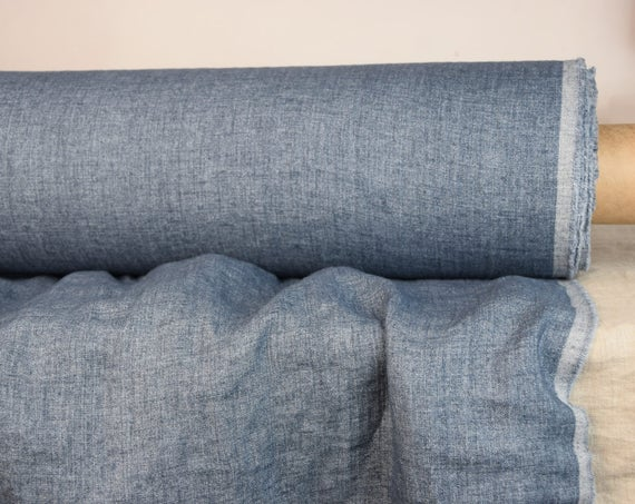 Pure 100% linen fabric Margarita Gray-Blue Denim 190gsm. Melange chambray. Washed-softened.