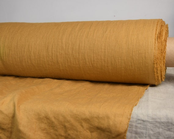 Pure 100% linen fabric Gloria Spicy Mustard 190gsm. Mustard color, brown undertone. Washed-softened.