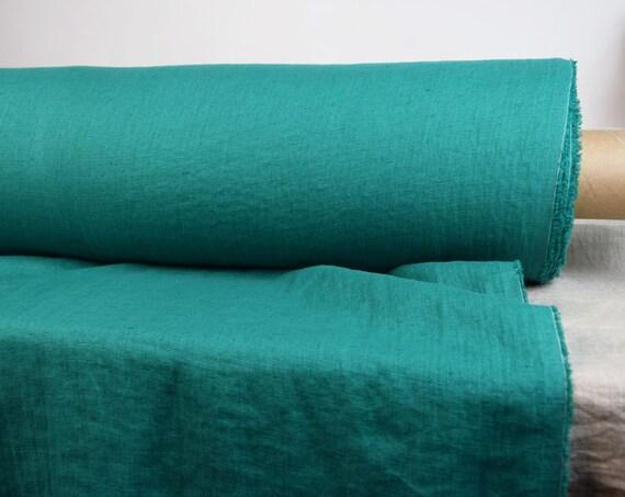 Pure linen fabric Gloria Emerald Green 190gsm. Medium weight, washed- softened, plain weave.