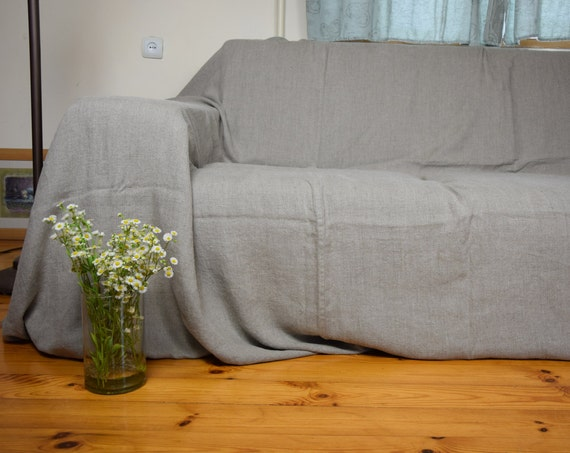 COUCH COVER. Pure 100% linen, stone washed-softened, standard or custom dimensions available. Homespun. Made to order. Natural not dyed flax