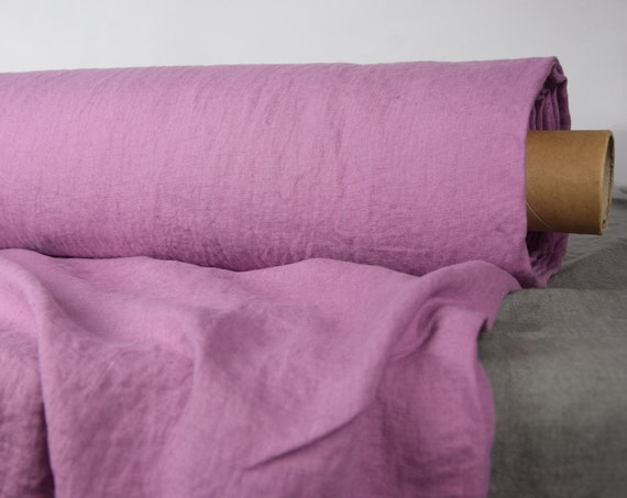 Pure 100% linen fabric Gloria Orchid Pink 190gsm. Washed, softened.