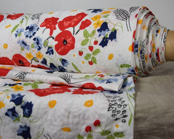 Pure 100% linen fabric Gloria Meadow On White 200gsm. Multicolor flowers on stark white, washed-softened.