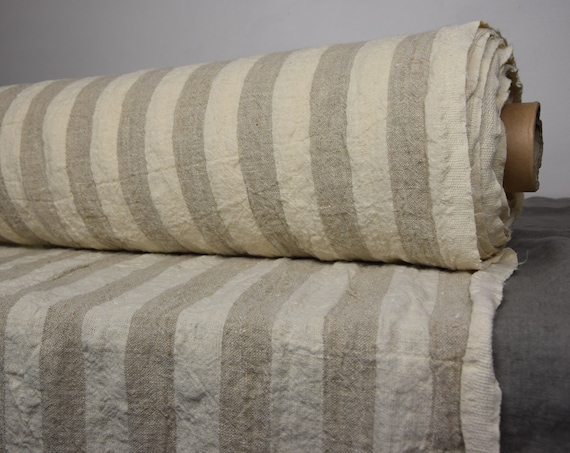Pure 100% linen fabric Luna Beige Striped 290gsm. Not dyed flax and off-white 3cm stripes. Heavy, washed-softened.
