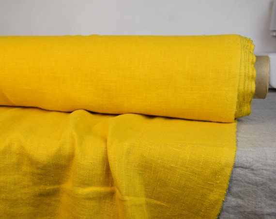 """SWATCH (sample) 12x12cm (5x5""""). Pure 100% linen fabric Luna Primrose 280gsm. Yellow color. Heavy, washed-softened, homespun."""