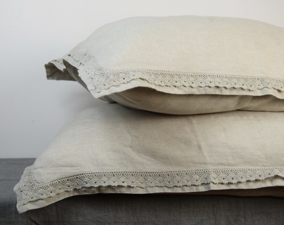 Pair of 100% linen pillow shams with lace. NATURAL bedding collection. Not dyed linen flax. Standard, queen, king, custom sizes. Washed.