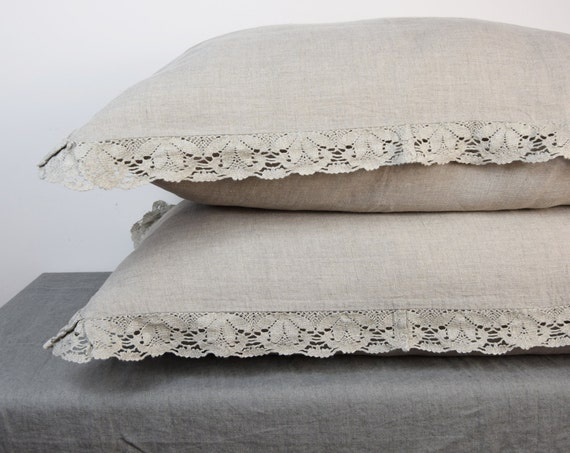 Pair of 100% linen pillow shams with lace. NATURAL bedding collection. Not dyed linen flax. Standard, queen, king, custom.  Stone washed.