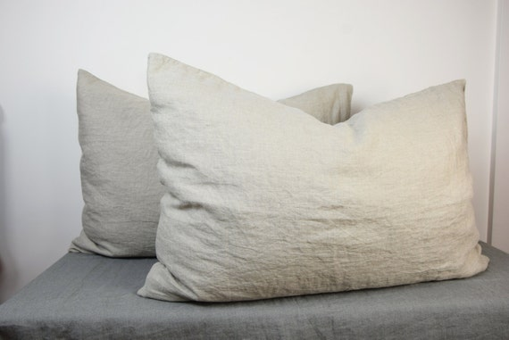 Pair of 100% linen pillow covers. NATURAL bedding collection. Not dyed linen flax. Standard, queen, king, other custom sizes. Stone washed.