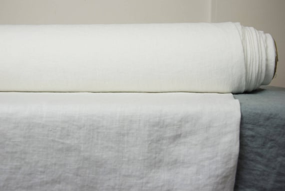 Pure 100% linen fabric Aura Off-White 125gsm. Washed, dense, softened, thin.