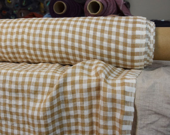 Pure 100% linen fabric Aura Sand Brown Gingham 125gsm. 8mm checks. Light weight, densely woven, washed-softened, pre-shrunk.