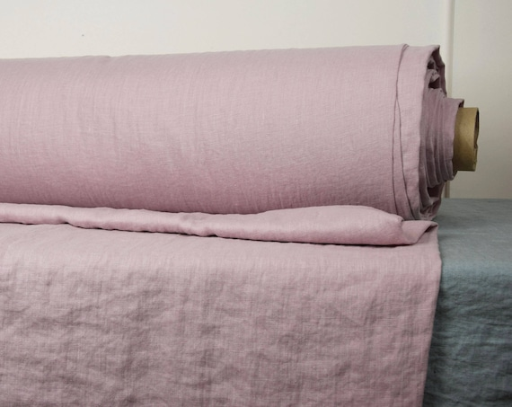 Pure 100% linen fabric Gloria Dogwood 190gsm. Grayish dogwood rose color. Pre-washed, softened.