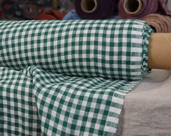 Pure 100% linen fabric Aura Green/White Gingham 125gsm. 8mm checks. Light weight, dense, washed-softened.