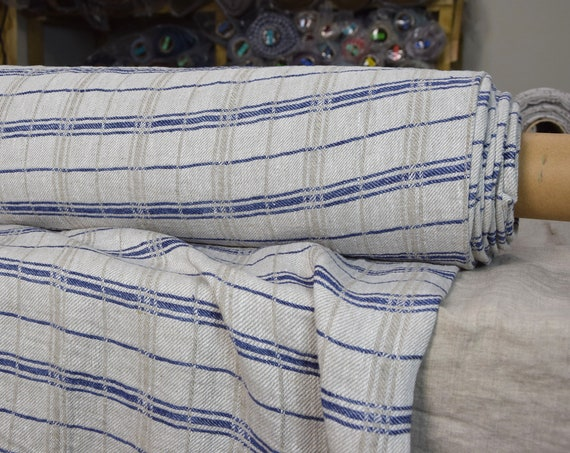 Pure 100% linen fabric Rustica Blue 250gsm. Traditional folk pattern. Cheks in undyed flax and with blue stripes. Washed-softened.