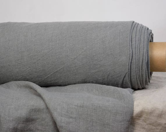 Pure 100% linen fabric Felicia Silver Cloud 180gms, quite light gray color. Medium weigh, washed-softened. Loosely sparsely woven.
