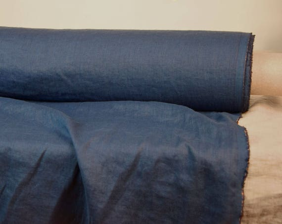 Pure 100% linen fabric Aura Ink Blue 125gsm. Rich saturated quite dark blue. Washed-softened.