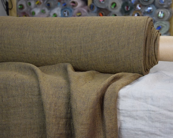Pure 100% linen fabric Montana Antique Bronze 240gsm. Linen tweed woven from bronze-brown and dark brown yarn. Earthy tone. Washed-softened.