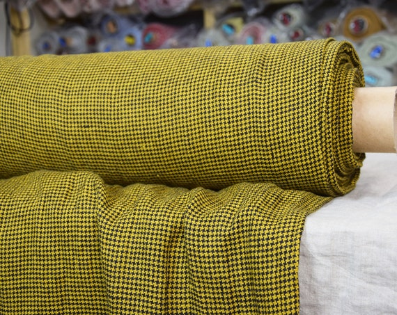 Pure 100% linen fabric Letta Hound's Tooth Golden 210gsm. Dog's tooth / Crow's feet pattern. Woven from black and yellow. Washed-softened.