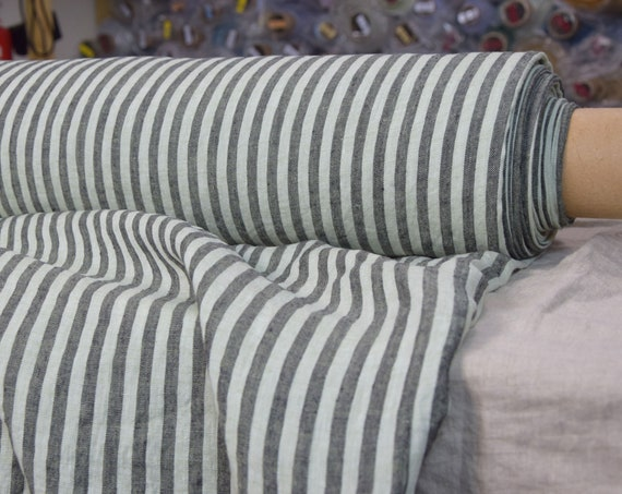 Pure 100% linen fabric Regina Bengal Stripes Meadow Mist 130gsm. Gray and greenish 8mm stripes. Light weight, washed-softened.