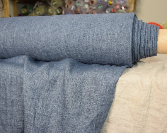 Pure 100% linen fabric Brava Blue Faded Denim 210gsm. Muted blue-gray melange, denim weave. Middle weight, dense, washed-softened.