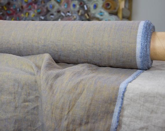 Pure 100% linen fabric Margarita Blue Copper 190gsm. Melange, copper/blue colors. Washed-softened.