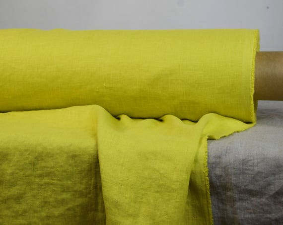 Pure 100% linen fabric Gloria Chartreuse 190gsm. Yellow-green color.  Washed-softened, densely woven.