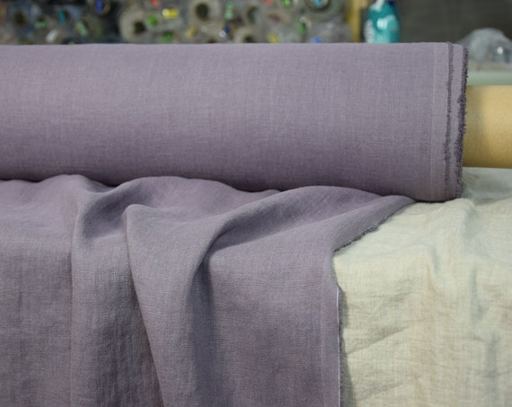 Pure 100% linen fabric Gloria Dimmed Lilac 190gsm. Muted grayish-lilac. Middle weight, dense, washed-softened.