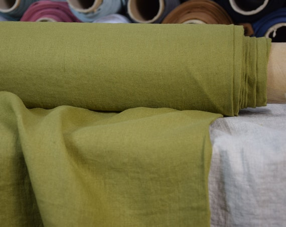 Pure 100% linen fabric Gloria Simply Olive 190gsm. Middle weight, dense, washed-softened.
