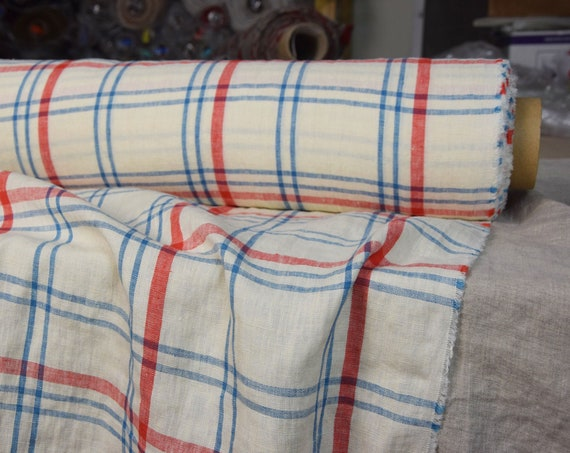 Pure 100% linen fabric Pola Red Blue Plaid 180gsm (5.30oz/yd2). Washed-softened.