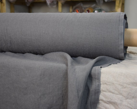 """SWATCH (sample) 12x12cm (5x5""""). Pure 100% linen fabric Luna Gallant Gray 290gsm. Heavy, thick, pre-washed, densely woven, homespun."""