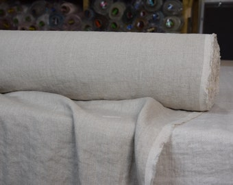 Pure 100% linen fabric Hera Natural 215gsm. Undyed flax, organic, earthy . Washed-softened.