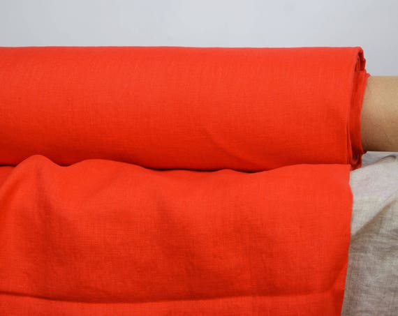 Pure 100% linen fabric Gloria Fiesta 190gsm. Bright orange-red. Medium weight, dense, washed-softened.