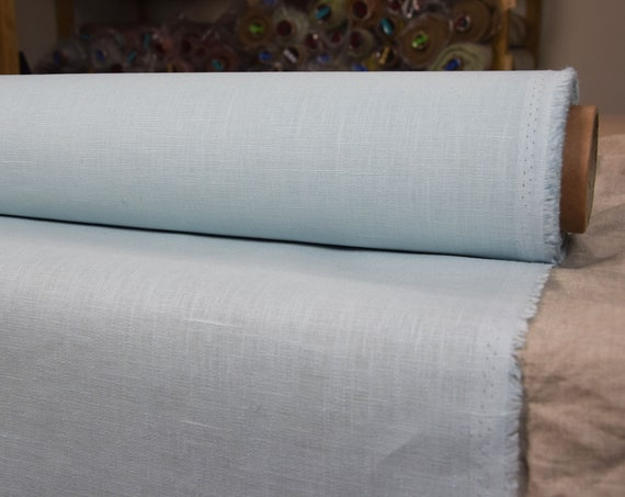 Pure 100% linen fabric Nata Water-Pro Milky Blue 280gsm. Light pale blue. Impregnated. Water&mud repellent. Water-resistant. Water Proof.