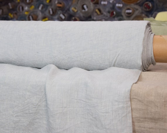 Pure 100% linen fabric Regina Morning Mist 130gsm. Pale blue-gray melange chambray. Light weight, thin, washed and softened.