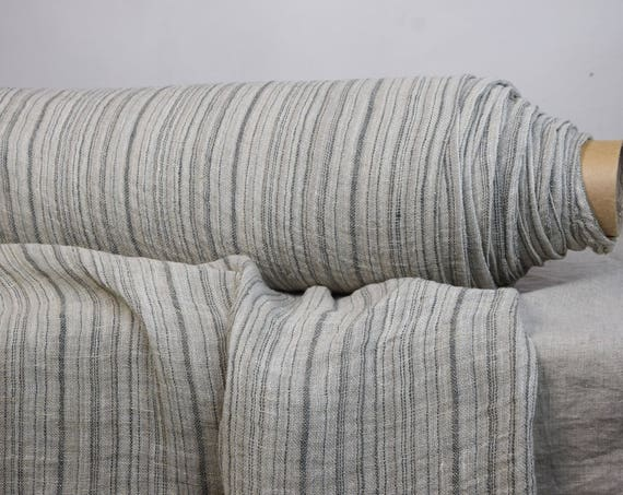 "SWATCH (sample) 12x12cm (5x5""). 100% linen fabric Pura Beige Striped 110gsm. Semi-sheer gauze. Gray/beige tones. Washed-softened."