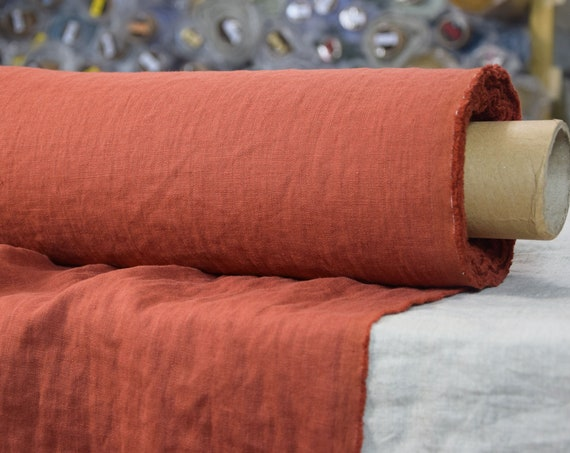 Pure 100% linen fabric Gloria Rust 190gsm. Brown-orange color. Middle weight, dense, washed-softened.