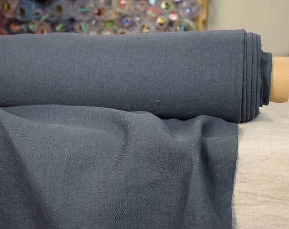 """100% linen fabric Udana Blue Shadow 340gsm. Washed/Pre-shrunk. Eco-friendly material. The last piece 1.30x1.45m(51x57"""")!"""