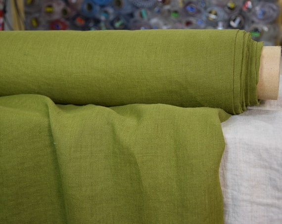 Pure 100% linen fabric Gloria Olive Moss 190gsm. Middle weight, densely woven, washed-softened.