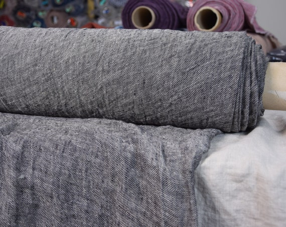 Linen fabric Pura Blackened Flax Melange. Thin semi-sheer gauze. 100% linen 110gsm. Open weave (loosely woven). Washed-softened.