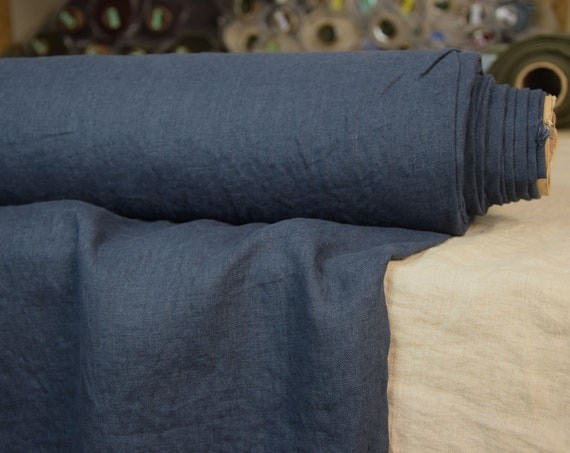 Pure 100% linen fabric Gloria Oxford Blue 190gsm. Bold, saturated but not too bright navy. Washe-softened.