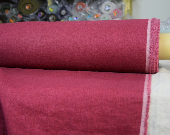 """SWATCH (sample) 12x12cm (5x5""""). Linen/wool (85/15%) fabric Teresa Moroccan Red 210gsm. Bright pinkish-raspberry red. Washed-softened."""