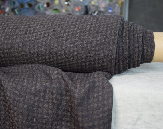 Pure 100% linen fabric Lima Black/Brown Rhombus 160gsm. Diamond pattern woven from brown and black colors. Washed-softened.