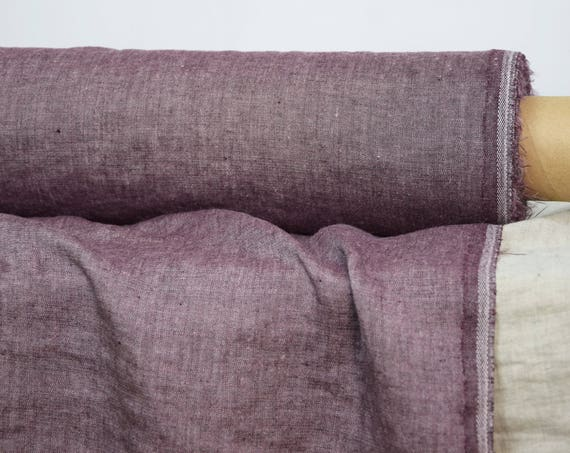 Linen/wool (85/15%) fabric Magna Burgundy 175gsm. Brownish purple melange. Washed and softened.