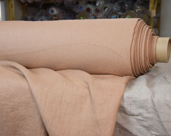 Pure 100% linen fabric Gloria Clay 190gsm. Brownish color with a soft rosy hint. Washed-softened.